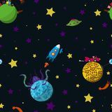 Space. Seamless space pattern with cartoon planets with inhabitants, rockets, comets and stars. Vector illustration. Part 1 Royalty Free Stock Image