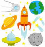 Space set. Cartoon space set with vector elements Stock Images