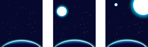 Space, set of 3 global planet backgrounds with sta Royalty Free Stock Image