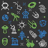 Space set of flat icons. Stock Photo
