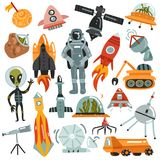 Space Hand Drawn Icons Set. Space set of hand drawn icons with rockets and robots, satellites, astronaut and alien isolated vector illustration Royalty Free Stock Photo