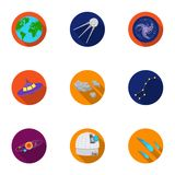 Space set icons in flat style. Big collection of space vector symbol stock illustration Royalty Free Stock Images