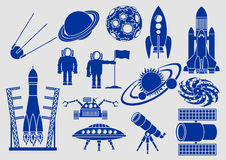 Space, Set of Icons Royalty Free Stock Photography