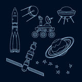 Space. Set of outlines space object and equipment Royalty Free Stock Photos