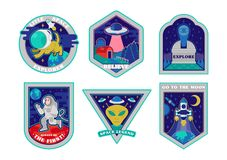 Space set stickers patches prints icons. Colorful set icons with patches stickers pins on topic space explore alien ufo spaceship mars astronaut. Modern vector vector illustration