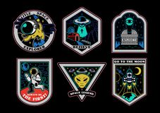 Space set stickers patches prints icons. Monochrome graphic vintage set icons patches stickers pins on topic space explore alien ufo spaceship mars astronaut royalty free illustration