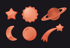 Space shiny Icon set. Space Icon set with stars planets and moon Royalty Free Stock Photography