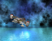 Space ship above the water Stock Images