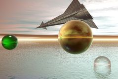 Space ship on alien sky. Digital illustration vector illustration