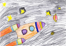 Space ship child's drawing Royalty Free Stock Images