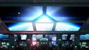 Space ship futuristic interior. Cabine view. Galactic travel concept. 3d rendering. Stock Photos