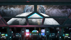Space ship futuristic interior. Cabine view. Galactic travel concept. 3d rendering. Stock Image