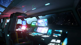 Space ship futuristic interior. Cabine view. Galactic travel concept. 3d rendering. Royalty Free Stock Photo