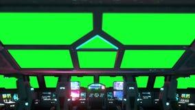 Space ship futuristic interior. Cabine view. Green screen footage.