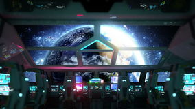 Space ship futuristic interior. Earth view from cabine. Galactic travel concept. Space ship futuristic interior. Earth view from cabine. Galactic travel concept stock video