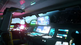 Space ship futuristic interior. Earth view from cabine. Galactic travel concept. stock video footage