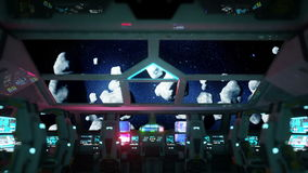 Space ship futuristic interior. Meteorits view from cabine. Galactic travel concept.