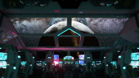Space ship futuristic interior. Moon view from cabine. Galactic travel concept.