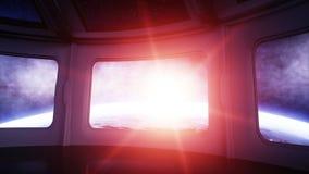 Space ship futuristic interior. Sci fi room. view of the earth, wonderfull sunrise. Space concept.