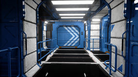 Space ship futuristic interior. Sci fi view. 3d rendering. Royalty Free Stock Images