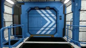 Space ship futuristic interior. Sci fi view. flight corridor. Green screen.