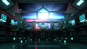 Space ship futuristic interior. Sunrise view from cabine. Galactic travel concept. stock video