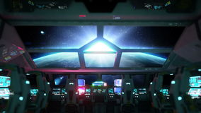 Space ship futuristic interior. Sunrise view from cabine. Galactic travel concept. Space ship futuristic interior. Sunrise view from cabine. Galactic travel stock video footage