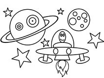 Space ship high quality coloring page Royalty Free Stock Image
