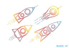 Space Ship icon set. Space Shuttle illustration, vector. Painted drawing concept vector illustration stock illustration