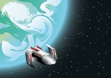 Space ship in orbit. Computer generated illustration of space ship in orbit Stock Photo