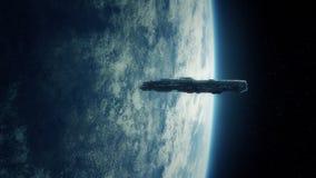 Space Ship In Orbit near Earth. Big spaceship in orbit near the earth stock footage