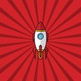 space ship rocket retro red theme Stock Photo