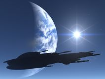 Space Ship silhouette. Over earth and sun Stock Photography