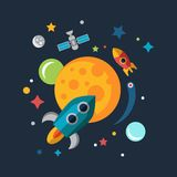 Space Ship Starting Up. Mars, Sun and Earth. Color vector flat rocket, planet Stock Photo