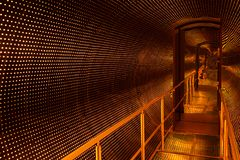 Space ship time travel portal - sci-fi illusion. Space ship time travel portal - bridge tunnel illusion royalty free stock photography