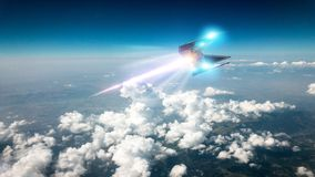 Space ship traveling in the clouds. Ufo hurtling at high speed in the earthly skies royalty free stock photography