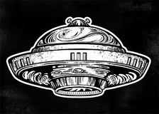 Space ship UFO. Vector isolated illustration. Space ship UFO. Vector isolated illustration in vintage style royalty free illustration