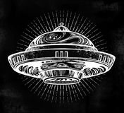 Space ship UFO. Vector isolated illustration. Space ship UFO. Vector isolated illustration in vintage style stock illustration