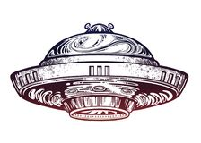 Space ship UFO. Vector isolated illustration. Space ship UFO. Vector isolated illustration in vintage style vector illustration