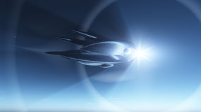 Space Ship Warp Stock Photo