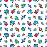 Space Ships Rocket and Satellite Seamless Pattern. background with Aliens and UFO Ships Royalty Free Stock Image