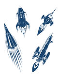 Space ships and spacecrafts set Stock Photo