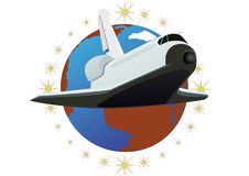 Space shuttle. Against the backdrop of the planet Earth vector illustration