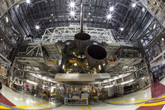Space shuttle. The space shuttle Endeavour is getting non operational engines installed at Kennedy Space Center getting ready to be transported to a California Royalty Free Stock Images