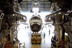 Space shuttle. The space shuttle Endeavour is being moved out of the orbiter processing building for the last time after it is prepared and fitted for display at Stock Image