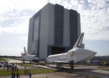 Space shuttle. The space shuttles Atlantis (left) and Endeavour (right) pass each other at Kennedy Space Center while they are getting ready to be on display Stock Images