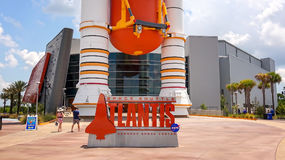 Space Shuttle Atlantis Exhibit Sign at Kennedy Space Center Visi Royalty Free Stock Photos