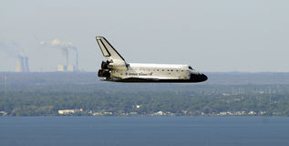 Space shuttle Atlantis landing at Kennedy Space Center, Florida. United States space shuttle Atlantis landing at Kennedy Space Center, Florida Stock Photos