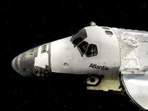 Space Shuttle Atlantis. NASA Space Shuttle Atlantis appears to be in orbit and at work.  An image that hearkens back to the days when this was a working ship Stock Image