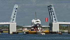 Space shuttle on barge Stock Photos